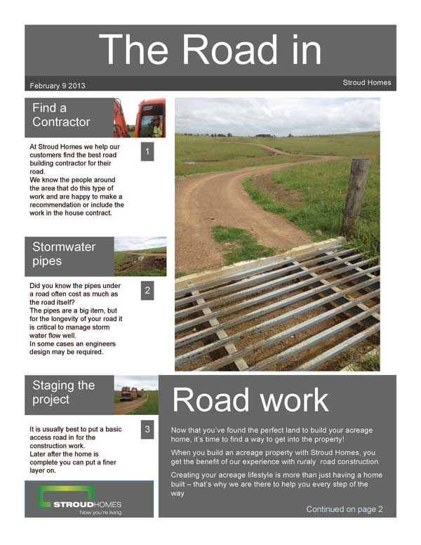 Rural Road Construction | Stroud Homes