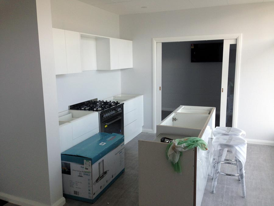 Stroud Homes Wagga Wagga display centre kitchen in progress