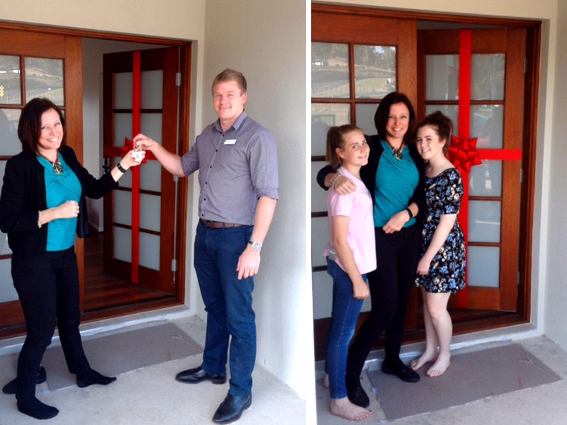 Kirrilly getting keys to her new home in Toowoomba