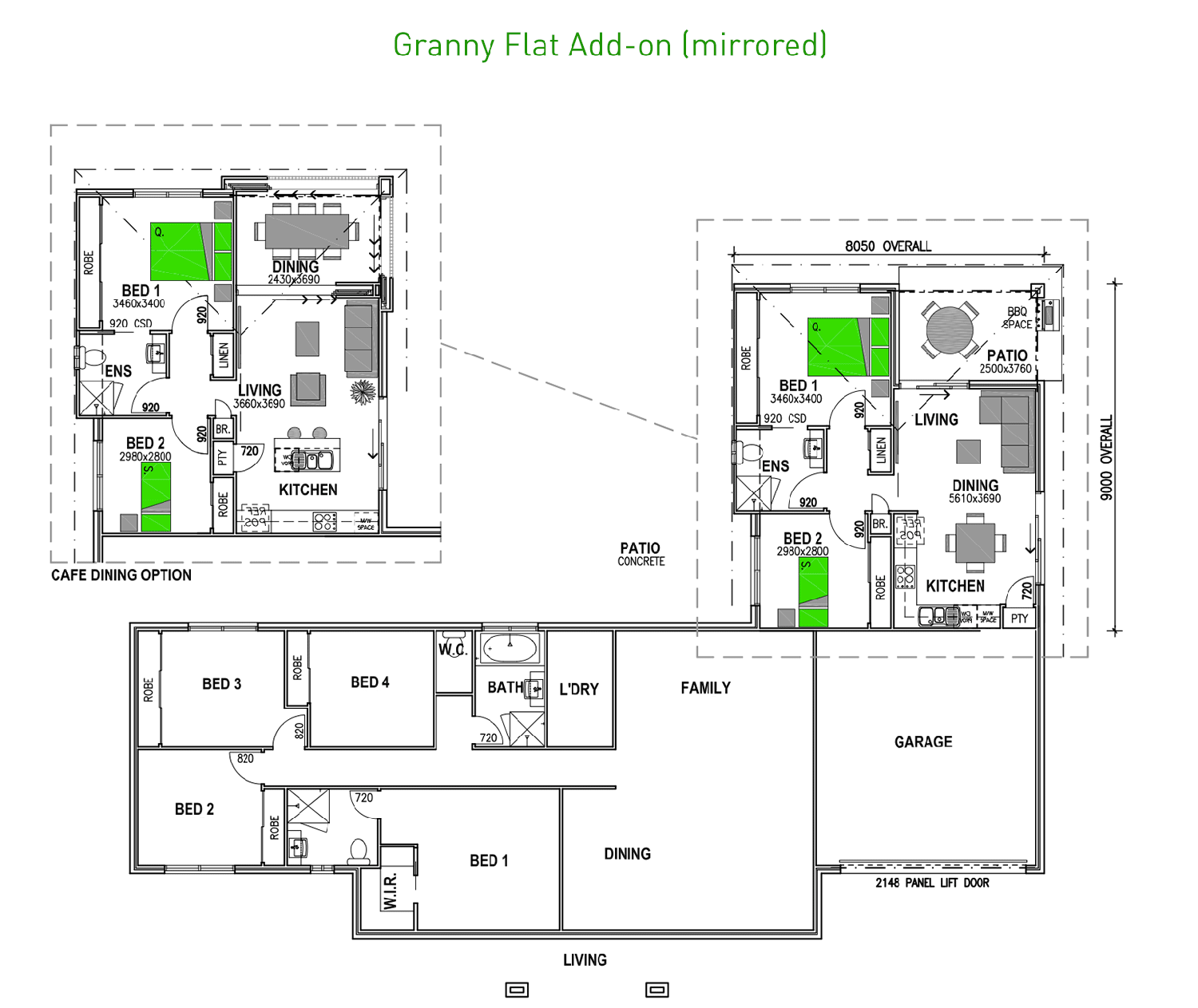 2_bedroom granny flat add on mirrored - Attached House Plans