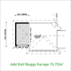 Standard double garage with additional golf buggy storage