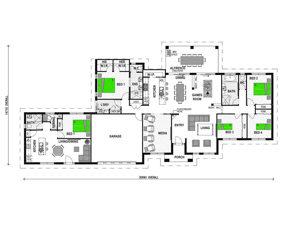 i br attached granny flat 1 - Attached House Plans
