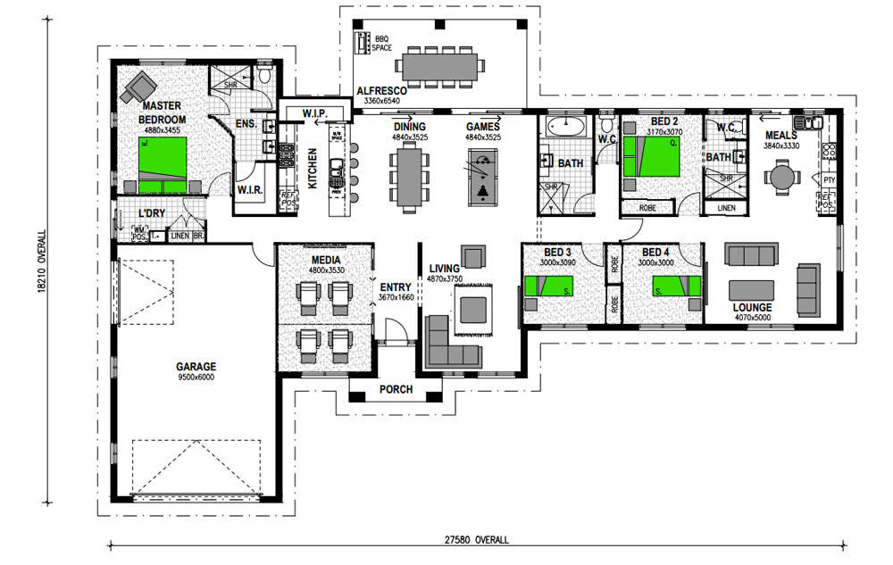 kentucky_327_with_granny_flat_add_on - 4 Bedroom House Plans One Story For 2 Acres