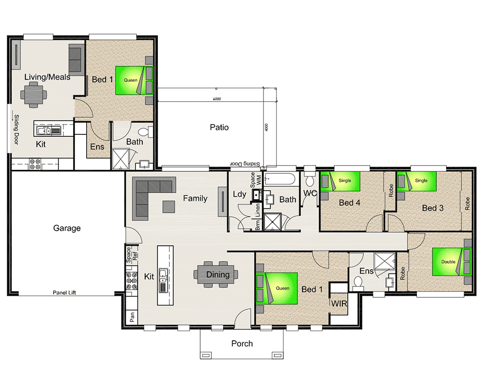 oakleigh_181_1br_attached_gf_2_mirror oakleigh_181_1br_attached_gf_mirror - 4 Bedroom House Plans One Story For 2 Acres