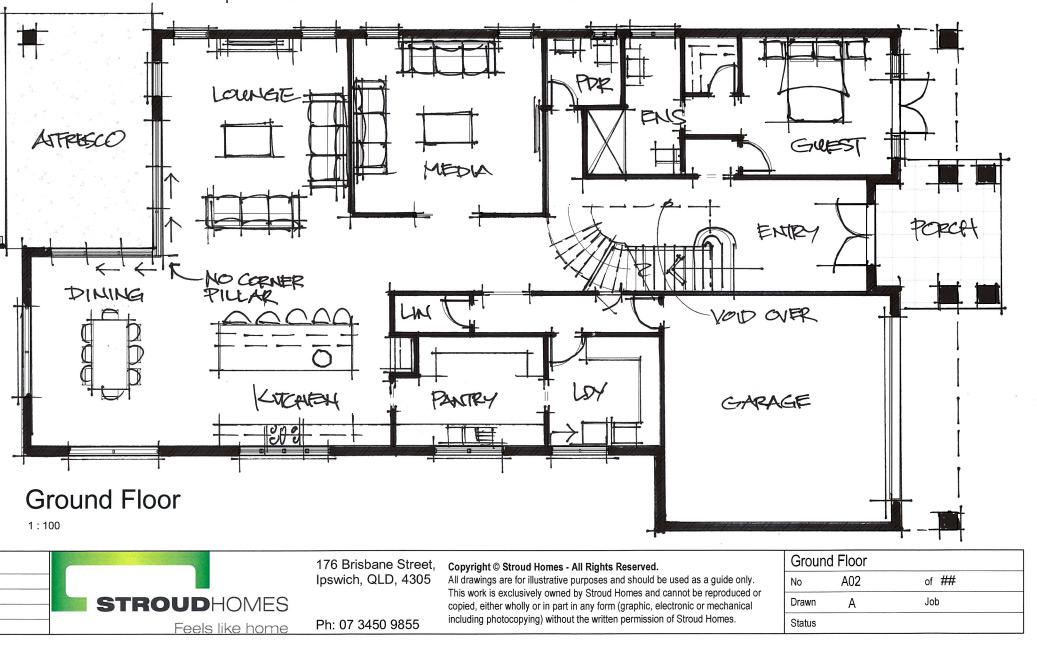 Floor Plan sketch of home design by Ipswich
